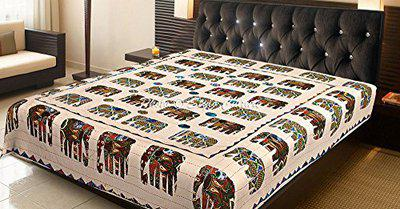 Indian Kantha Bedding Double Off White Amrosi Applique Patchwork Elephant Hand Stitched Blanket Bedding Bed Cover by Stylo Culture
