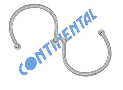 ContinentalTM Stainless Steel Braided Hose/Connection Pipe 12 with Stainless Steel/SS Nuts- Pack of 2
