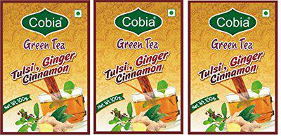 Cobia Green Tea(Tulsi, Cinnamon, Ginger) 100g Pouch Pack of 3