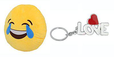 Tickles Whatsapp Sofa Smiley Laught to Tear Cushion and Love Keychain Cushion Gift Set