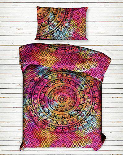Multi Tie Dye Elephant Mandala Bedsheet Bedspread Bedding Bed Throw Cotton Bed Cover Bed Sheet for Single Bed by Handicraft-Palace