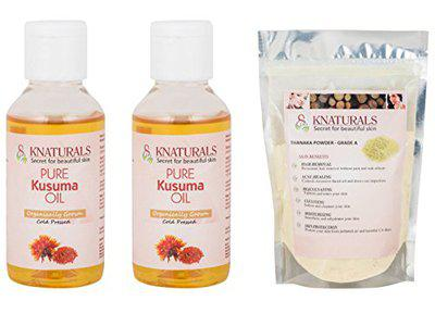 KNATURALS 2 Bottle of Kusuma Oil (100ml) & 1 Pack of Grade A Thanaka Powder (200gms) For Permanent Hair Removal (Pack Of 3)
