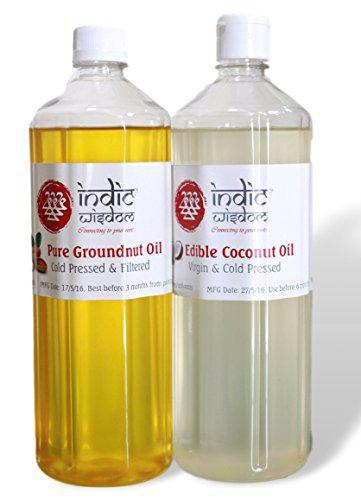 IndicWisdom Cold Pressed Groundnut Oil 1 Litre and Coconut Oil 1 Litre (Wood Pressed - Extracted on Wooden Churner)
