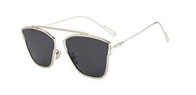 TED SMITH UV Protected Aviator Unisex Sunglasses - (TS-KAMY_SIL/GRY|60|Grey Color Lens)