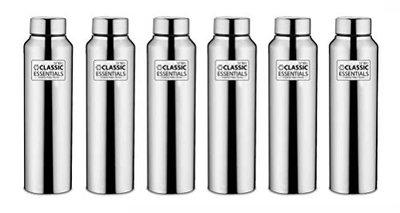 Classic Essentials Stainless Steel Water Bottle Set, 1 Litre, Set of 6, Steel