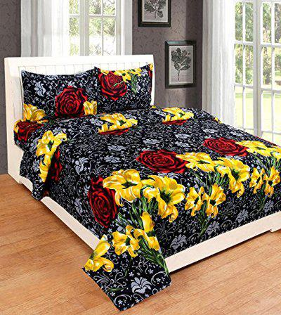 Dream Clouds Flower Polycotton Awesome Double Bedsheet with 2 Pillow Covers,Multicolor