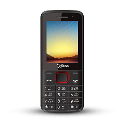 Xccess X208 Selfie Feature Phone with Dual SIM (Black Red)
