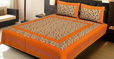 AJ Home 100% Cotton Traditional Jaipuri Double bedsheet with Two Pillow Covers
