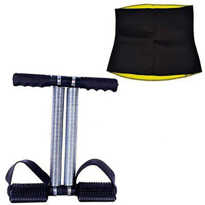 Gjshop Multypurpose 4 in 1 Ab Tummy Trimmer Double Steel Spring for Weight Loss with Hot Shaper Slimming Belt Free Size