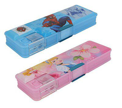 Aarvi Spiderman and Princess Character Pencil Box Birthday Return Gift for Kids (Pack of 2 Pieces)