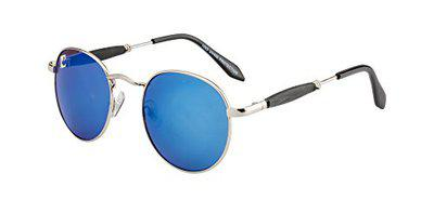 clark n palmer Mirrored Oval Unisex Sunglasses - (CNP-SB-823|54|Blue Color Lens)
