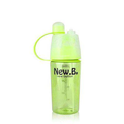 Kids Mandi 2 in 1 Leak Proof Portable Plastic Drinking and Spray Water Bottle for Outdoor Bicycle Cycling Sports Gym (Green, 400 ML)