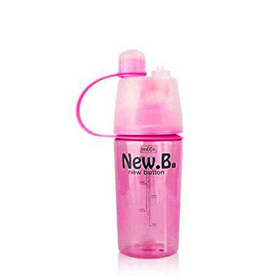 Kids Mandi 2 in 1 Leak Proof Portable Plastic Drinking and Spray Water Bottle for Outdoor Bicycle Cycling Sports Gym (Pink, 400 ML)