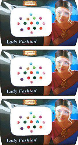 Lady Fashion Stone Bindis, Multicolor (Pack of 3)