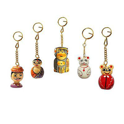 Handicrafts Paradise Off White Painted Carved Solid Wood Keychain - Set of 5 Pieces