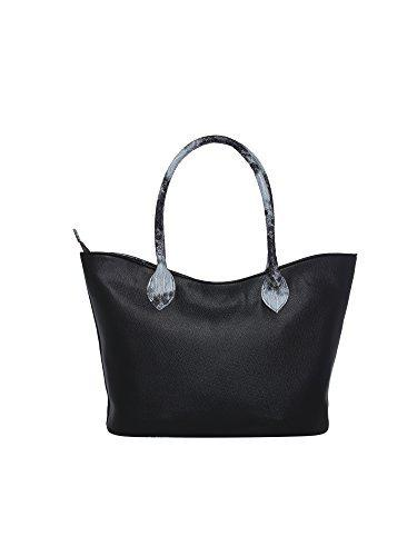Tarusa Charcoal Black Faux Leather Abstract Tote Bag For Women