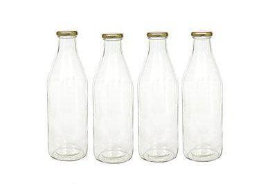 Agile Glass Italian Freeze Safe Air Tight Flip-Cap Bottle (Clear, 1000ml) - Pack of 4