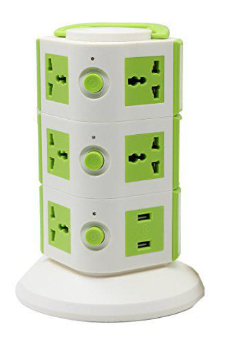Impro Tower Spike Buster - 3 Floor - 2 USB 11 Socket Surge Protector (White, Green)