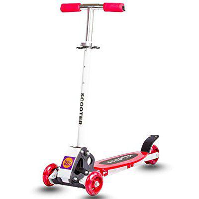 BAYBEE Funbee 3 Wheel Lean to Steer 3 Adjustable Height with Suspension Ninja Skate Scooter for Kids (Red, 3 -12 Year Old)