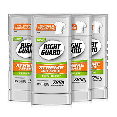 right guard xtreme defense 5 antiperspirant deodorant invisible solid, fresh blast, 2.6 ounce (4 count)