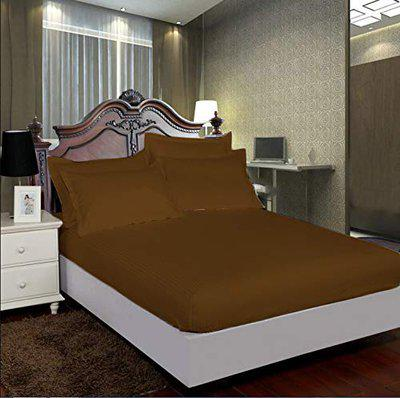 AVI Pure 100% Cotton 300 Tc Single Fitted Bedsheet 48x72 Pattern-Stripe with 1 Pillow Covers (Brown)