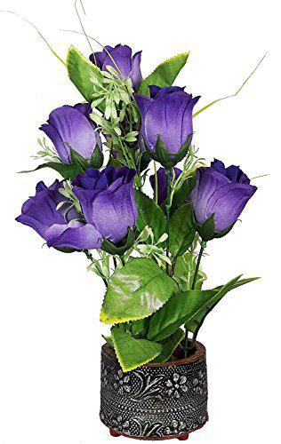 Urvi Creations Artificial Purple Rose Flowers with Vase for Mother's Day Father's Day Best Gift for Mother Father Office Home Decoration Flowers for Home Decor