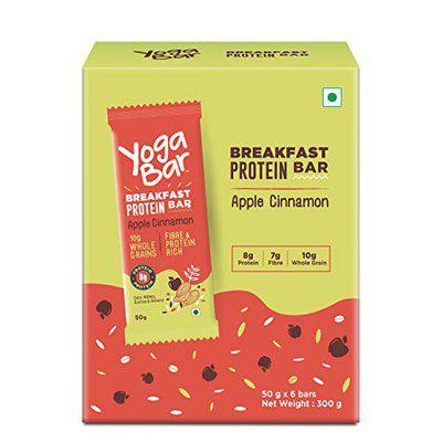 Yogabar Breakfast Protein-Bar Apple Cinnamon - Pack of 6, Wholegrain Low Fat Snacks with Oats and Millets, High in Protein (8g) and Fibre, Gluten Free Granola Bar with Chia and Flax Seeds