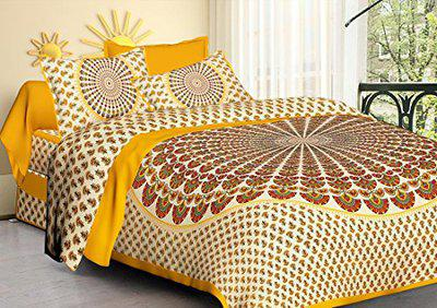 Dormir Tex Print Jaipuri 100% Cotton Double Bedsheet with 2 Pillow Cover- (Yellow, King)