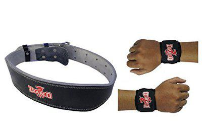 DIABLO Home Gym Combo of Leather Gym Belt & 1 Pair of Wrist Support (Belt Size - XL)