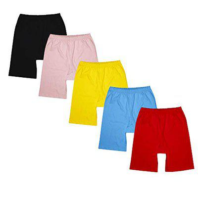 Luke and Lilly Girls Cycling Shorts - Pack of 5 (Multicoloured_9-10 Years) Red