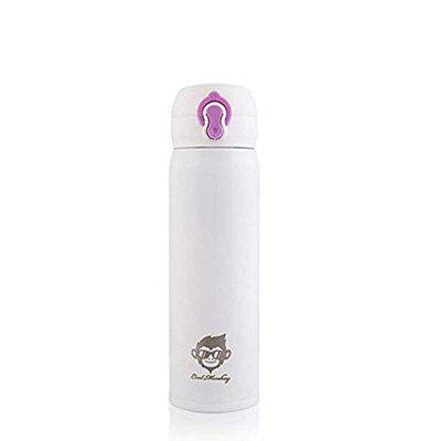 Cool Monkey Stainless Steel Thermos Bottle 500ml, Vacuum Flask Water Bottle (White)