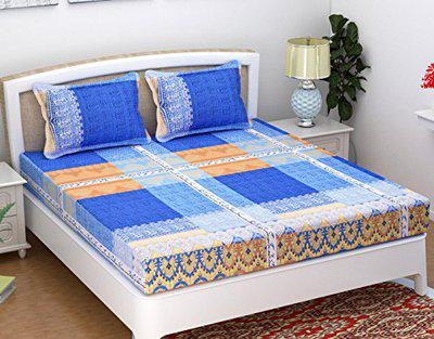 Homefab India 140 TC Cotton Double Bedsheets with 2 Pillow Cover - Modern, Blue