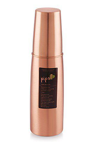 Pipal Product Llp Copper Leakproof Joinless Water Bottle with Glass Matt for Yoga and Ayurvedic Health (1000ml, Brown)