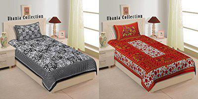 Ubania Collection Cotton Rajasthani Traditional 2 Single Bedsheet with 2 Pillow Cover (Multicolour, Standard) - Combo Pack of 2