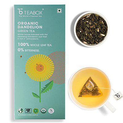 ONLYLEAF Dandelion Green Tea, Made with 100% Whole Leaf & Natural Dandelion Roots, 27 Pyramid Tea Bags (25 Tea Bags + 2 Free Samples)