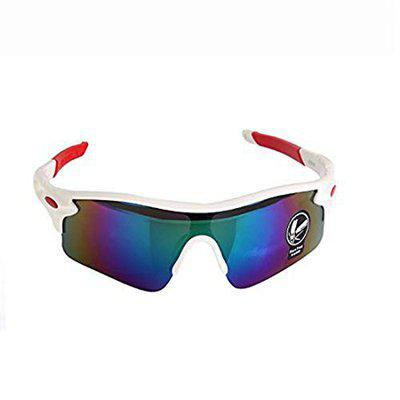 DALUCI Outdoor Sport Cycling Bicycle Bike Riding Unisex Sun Glasses (Frame White-Red,Lens-Mercury)