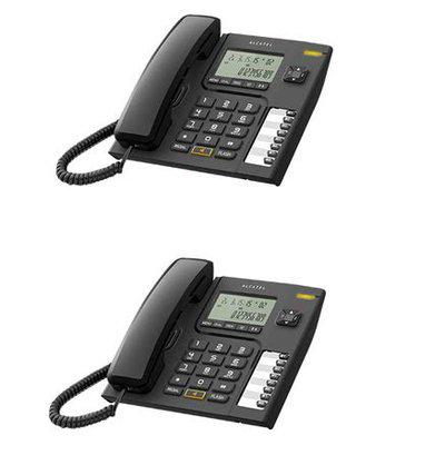 Alcatel T-76 Black Corded Landline Phone with Caller id & Hand Free Function (Pack of 2)