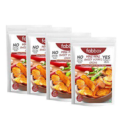 fab box Non-Fried Sweet Potato Chips, Peri Peri Flavor | Healthy Evening Snacks (35g (Pack of 4))