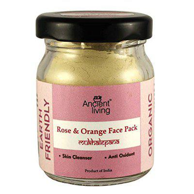 Ancient Living Organic Rose & Orange face pack with soothing and relaxing properties - 20 gm