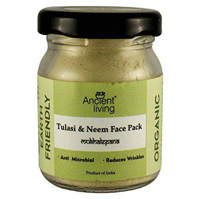 Ancient Living Organic Tulasi & Neem face pack with purifying and detoxifying properties - 20 gm