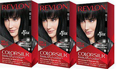 Revlon ColorSilk Beautiful Color Permanent Hair Color 10 Black, Pack of 3