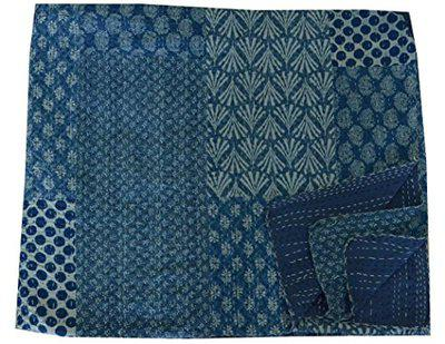 Indigo Blue Patchwork Quilt Bedding Coverlet Cotton Kantha Quilted Gudri Blanket Bedspread Double Bed Cover by Handicraft-Palace by Handicraft-Palace