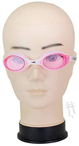 Neska Moda Unisex Anti-Fog & UV Protected Swimming Goggle with Earplugs Pink-Swim66