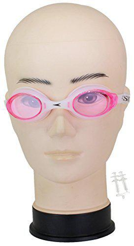 Neska Moda Unisex Anti-Fog & UV Protected Swimming Goggle with Earplugs Pink