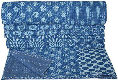 Indigo Blue Hand Kantha Quilted Bedspread Quilt Ralli Coverlet Bedding Patchwork Cotton Bed Cover Reversible Bed Throw Blanket 90 x 60 Inch by Handicraft-Palace
