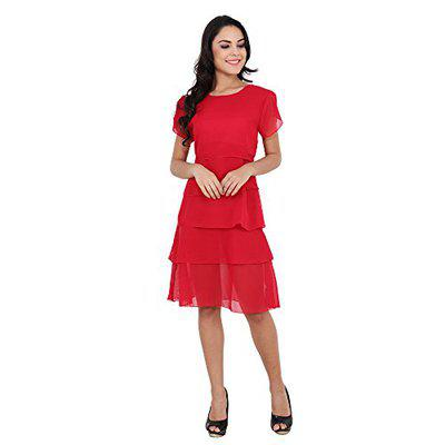Chauhan Red Color, Half Sleeve, Round Neck, Trendy Dress for Girl's and Women's (X-Large)