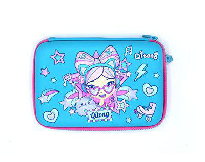 Shopaholic 3D Girl Multi-Layer Large Capacity Double Zipper Cute Pencil Case for School Supplies Kids/Teenagers (Girl_Blue)