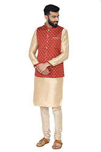Manyavar Men's Full Sleeve Regular Fit Blended Textured Kurta Paired with Churidar and Nehru Jacket (Beige, Large)