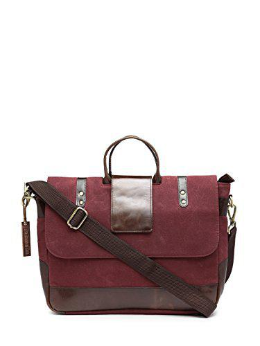 The House of Tara Leather Canvas Red Messenger Office Bag
