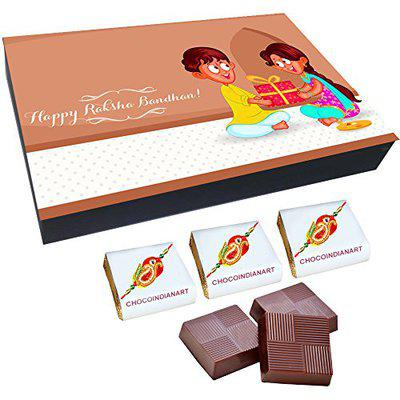 Chocoindianart, Happy Raksha Bandhan Gift Idea12 Chocolates with Fillings of Roasted Almonds, Fruit & Nuts and Butter Scotch(4 Each*3)